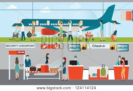 Business people in airport terminal check in counter security checkpoint airplane transportation business travel vector illustration.