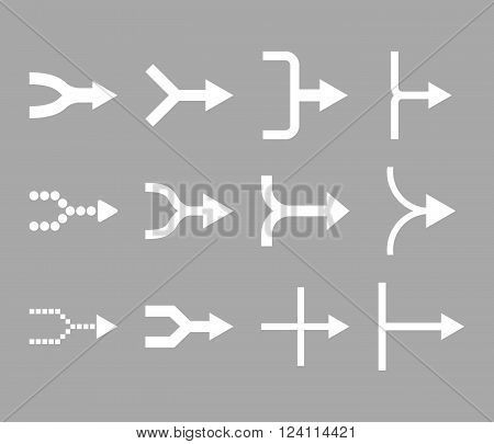Unite Arrows Right vector icon set. Collection style is white flat symbols on a silver background. Unite Arrows Right icons.