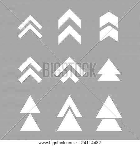 Up Direction vector icon set. Collection style is white flat symbols on a silver background. Up Direction icons.