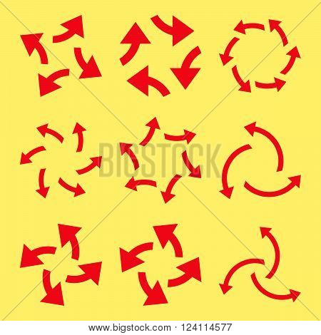 Centrifugal Arrows vector icon set. Collection style is red flat symbols on a yellow background. Centrifugal Arrows icons.