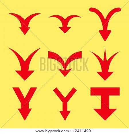Join Arrows Down vector icon set. Collection style is red flat symbols on a yellow background. Join Arrows Down icons.