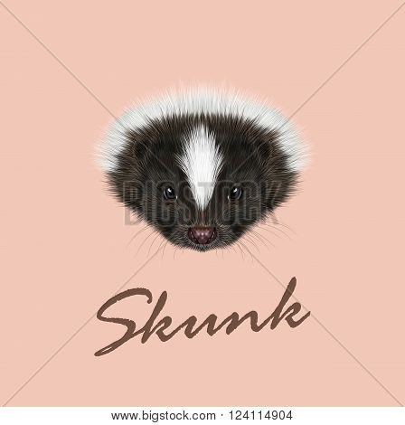 Cute face of Striped skunk on pink background.