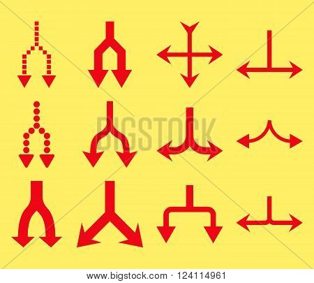 Junction Arrows Down vector icon set. Collection style is red flat symbols on a yellow background. Junction Arrows Down icons.