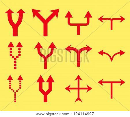 Junction Arrows Up vector icon set. Collection style is red flat symbols on a yellow background. Junction Arrows Up icons.