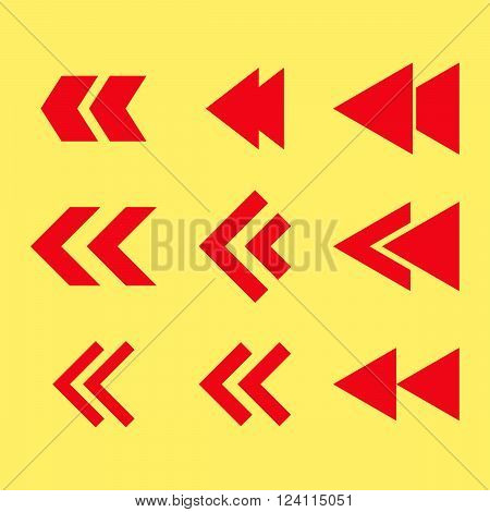 Left Direction vector icon set. Collection style is red flat symbols on a yellow background. Left Direction icons.