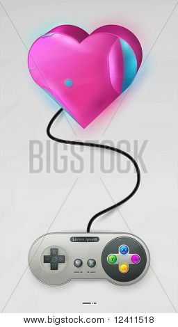 icon pink hearts with joystick to Valentine's Day. vector EPS10, transparency.