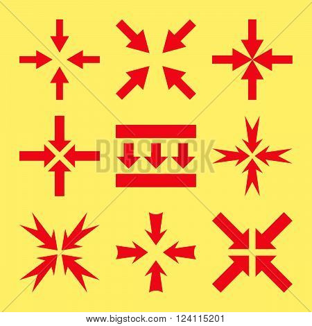 Pressure Arrows vector icon set. Collection style is red flat symbols on a yellow background. Pressure Arrows icons.