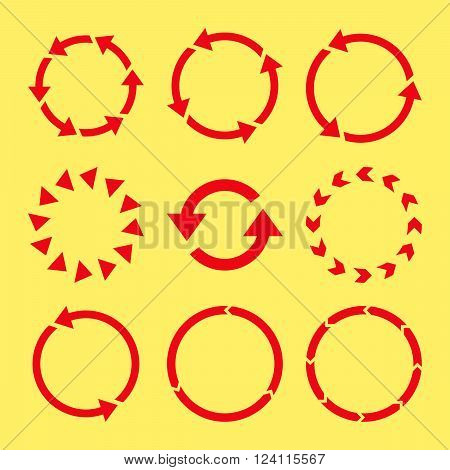 Rotation Direction vector icon set. Collection style is red flat symbols on a yellow background. Rotation Direction icons.