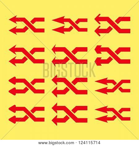 Shuffle Arrows Left vector icon set. Collection style is red flat symbols on a yellow background. Shuffle Arrows Left icons.