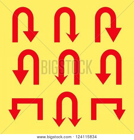 Turn Back Arrows vector icon set. Collection style is red flat symbols on a yellow background. Turn Back Arrows icons.