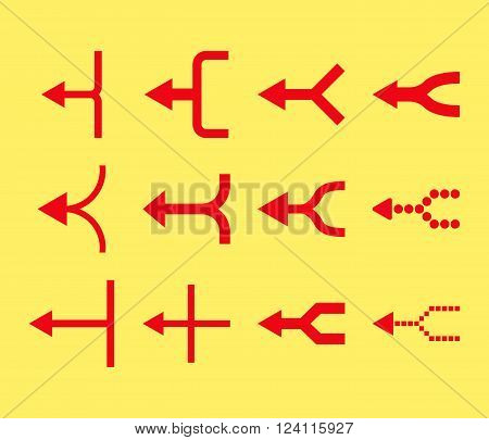 Unite Arrows Left vector icon set. Collection style is red flat symbols on a yellow background. Unite Arrows Left icons.