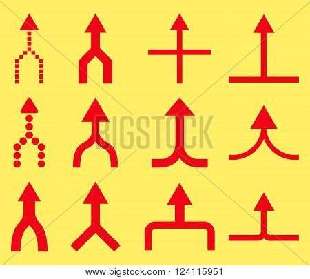 Unite Arrows Up vector icon set. Collection style is red flat symbols on a yellow background. Unite Arrows Up icons.