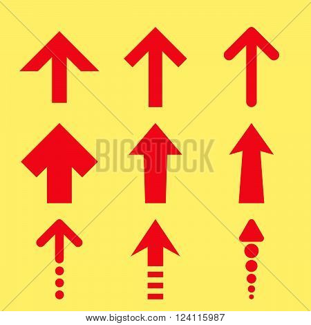 Up Arrows vector icon set. Collection style is red flat symbols on a yellow background. Up Arrows icons.