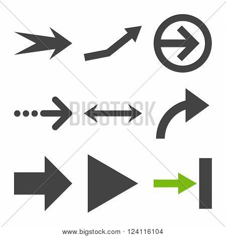 Direction Arrows vector icon set. Collection style is bicolor eco green and gray flat symbols on a white background. Direction Arrows icons.