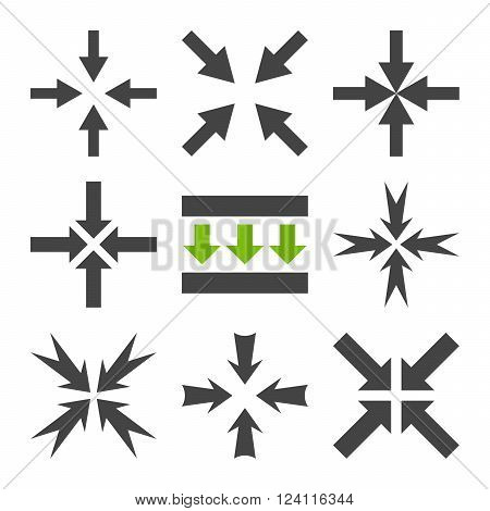 Pressure Arrows vector icon set. Collection style is bicolor eco green and gray flat symbols on a white background. Pressure Arrows icons.