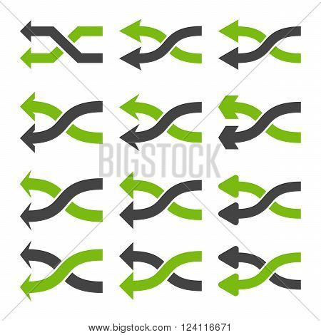 Shuffle Arrows Left vector icon set. Collection style is bicolor eco green and gray flat symbols on a white background. Shuffle Arrows Left icons.
