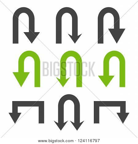 Turn Back Arrows vector icon set. Collection style is bicolor eco green and gray flat symbols on a white background. Turn Back Arrows icons.