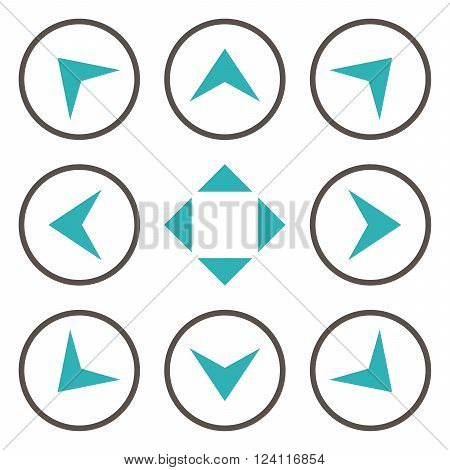 Circled Arrowheads vector icon set. Collection style is bicolor grey and cyan flat symbols on a white background. Circled Arrowheads icons.