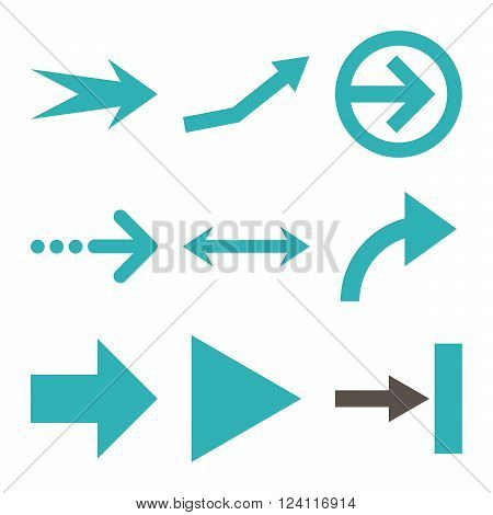 Direction Arrows vector icon set. Collection style is bicolor grey and cyan flat symbols on a white background. Direction Arrows icons.
