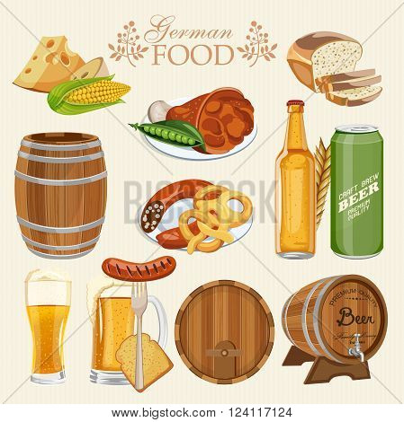 German cuisine set with beer mugs with foam, bottles, barrel, pork knuckle, pretzel, sausage, corn, green peas, wheat bread