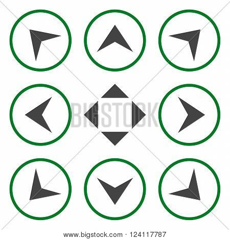Circled Arrowheads vector icon set. Collection style is bicolor green and gray flat symbols on a white background. Circled Arrowheads icons.