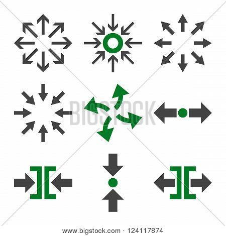 Compress and Explode Arrows vector icon set. Collection style is bicolor green and gray flat symbols on a white background. Compress And Explode Arrows icons.