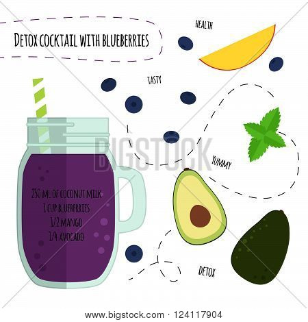Recipe detox cocktail with blueberry, mango and avocado. Vector illustration for greeting cards, magazine, cafe and restaurant menu. Fresh smoothies for healthy life, diets.