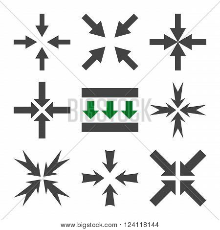 Pressure Arrows vector icon set. Collection style is bicolor green and gray flat symbols on a white background. Pressure Arrows icons.