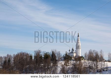 Beautiful white chirch and blue sky in spring day