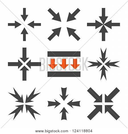 Pressure Arrows vector icon set. Collection style is bicolor orange and gray flat symbols on a white background. Pressure Arrows icons.