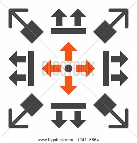 Pull Arrows vector icon set. Collection style is bicolor orange and gray flat symbols on a white background. Pull Arrows icons.