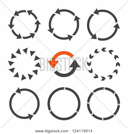 Rotation Direction vector icon set. Collection style is bicolor orange and gray flat symbols on a white background. Rotation Direction icons.