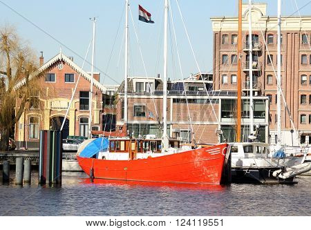 Groningen NETHERLANDS March-08-2015: Sail boats in the harbour of the Verbindingskanaal in Groningen. The Netherlands