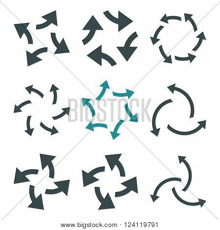 Centrifugal Arrows vector icon set. Collection style is bicolor soft blue flat symbols on a white background. Centrifugal Arrows icons.