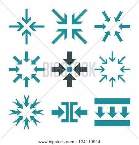 Minimize Arrows vector icon set. Collection style is bicolor soft blue flat symbols on a white background. Minimize Arrows icons.