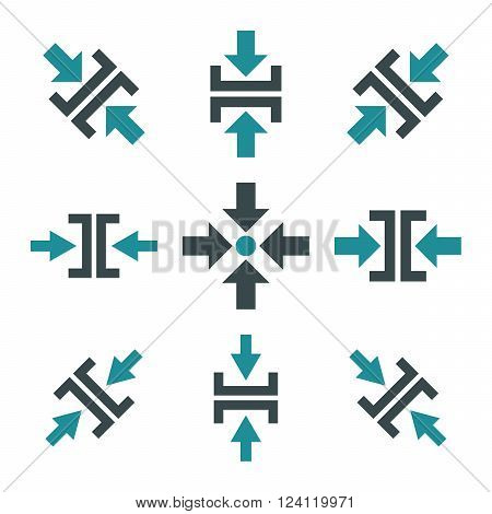 Pressure Directions vector icon set. Collection style is bicolor soft blue flat symbols on a white background. Pressure Directions icons.
