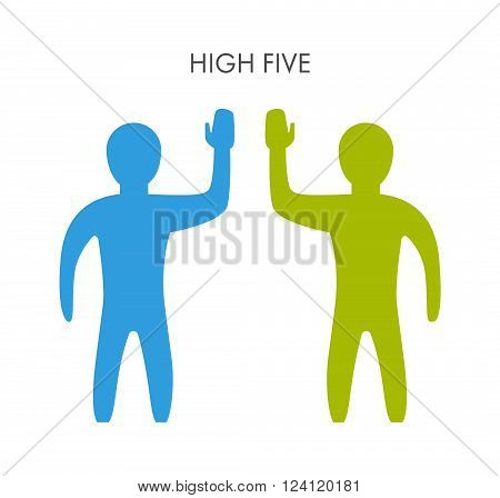 Two people and a friendly high five. Teamwork and successful high five.