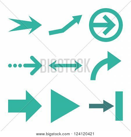 Direction Arrows vector icon set. Collection style is bicolor cobalt and cyan flat symbols on a white background. Direction Arrows icons.