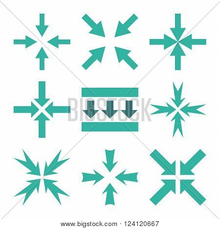 Pressure Arrows vector icon set. Collection style is bicolor cobalt and cyan flat symbols on a white background. Pressure Arrows icons.