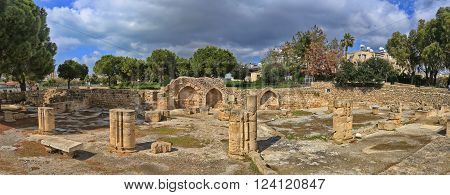 Ruins and columnes of early Byzantine Chrysopolitissa church (Agia Kyriaki Chrysopolitissa) in Kato Paphos, Cyprus