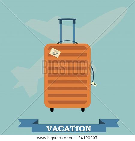 Travel and trip concept vector flat banner with travel bag airplane and ribbon. Time to travel banner. Vector background.