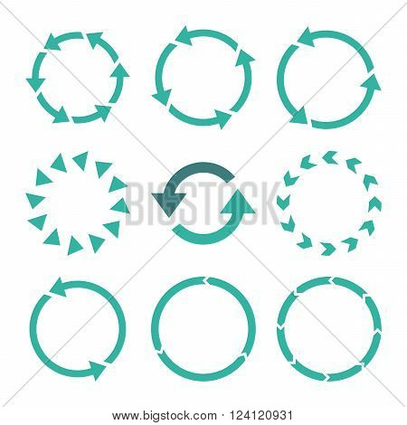 Rotation Direction vector icon set. Collection style is bicolor cobalt and cyan flat symbols on a white background. Rotation Direction icons.