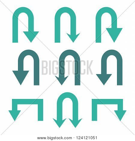 Turn Back Arrows vector icon set. Collection style is bicolor cobalt and cyan flat symbols on a white background. Turn Back Arrows icons.