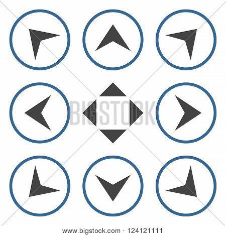 Circled Arrowheads vector icon set. Collection style is bicolor cobalt and gray flat symbols on a white background. Circled Arrowheads icons.