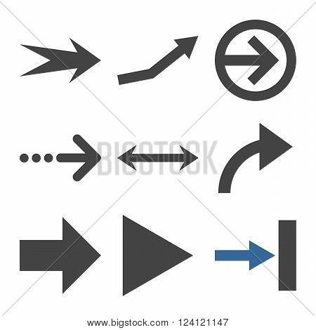 Direction Arrows vector icon set. Collection style is bicolor cobalt and gray flat symbols on a white background. Direction Arrows icons.