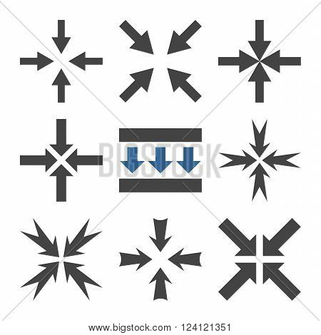 Pressure Arrows vector icon set. Collection style is bicolor cobalt and gray flat symbols on a white background. Pressure Arrows icons.