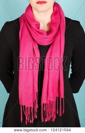 Silk Scarf. Pink Silk Scarf Around Her Neck Isolated On Blue Background.
