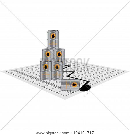 Oil price down. Oil price falling. Oil crisis. World oil crisis. Template for economic news. Oil price diagram. Isolated on white. Vector illustration.