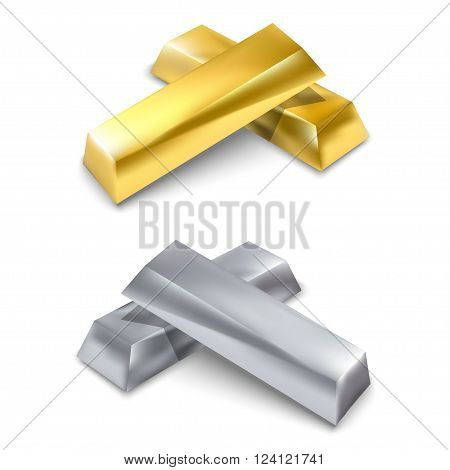 Golden and silver bars. Precious metal. Vector illustration. Isolated on white background.