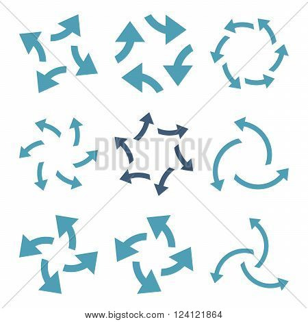 Centrifugal Arrows vector icon set. Collection style is bicolor cyan and blue flat symbols on a white background. Centrifugal Arrows icons.